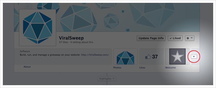 facebook app dropdown